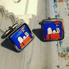 UNIQUE! Snoopy & Woodstock Boutons de manchette Chrome Bande Dessinée Rétro Papa Chien Nouveauté