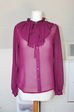 UK 10 Womens Sheer Blouse Shiny Long Sleeve Button Office Shirt Party Top