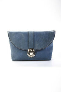 Marc Jacobs Womens Leather Mini Flap Clutch Handbag Powder Blue