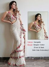 Georgette embroidery saree banglori silk blouse wedding function indian festiv