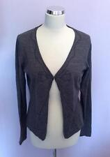LK BENNETT GREY WOOL BEADED BOW TRIM CARDIGAN SIZE L
