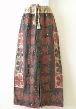 G161 Gothic Hippie Gypsy Patchwork Renaissance Embroidered Long Skirt - XL