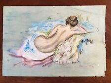 Original Old Pastel Masterpiece Painting Signed Renoir French Impressionist Nude