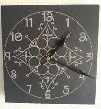 Slate Wall Clock Flower Design - Laser Engraved Face - Quartz Movement