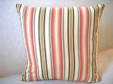 Handmade Stripe Pillow Cover Rose Peach Pink Blue Yellow Brown Cream Cottage