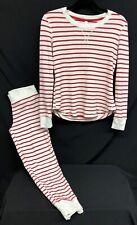 2pc Gilligan & O'Malley Sz XS Red/White Candycane Striped Thermal Pajama Set