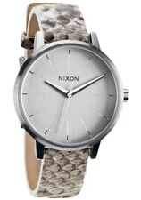 Nixon A108843 Kensington Leather White Snake Band Silver Case Watch
