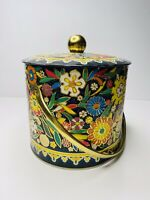 """Vintage Daher Floral Tin Canister Tea Biscuits Cookies Long Island England 8"""""""