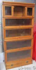 Antique Oak Step Back 6 Stack ing Bookcase Top Doors Bottom Drawer