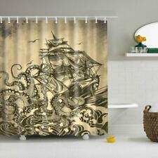 Bathroom Liner Shower Curtain Panel Set with Curtain Hooks Pirate Ship Decor