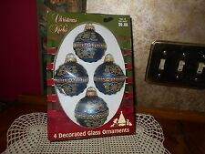 Vintage Victorian Christmas by Krebs Midnight Blue Glass Ornaments Gold Crowns