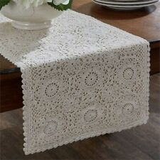 Farmhouse Cottage Crocheted Lace Long Table Runner