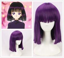 Sailor Moon Saturn Hotaru Tomoe short  Purple Hair Cosplay Costume Wig+a wig cap