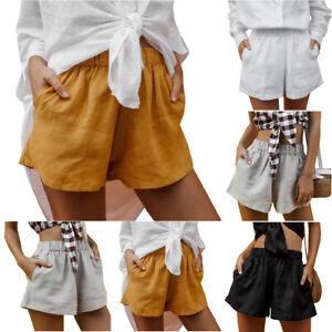 Women Summer Elastic Waist Plain Pants Casual Beach Pockets Shorts Trousers New