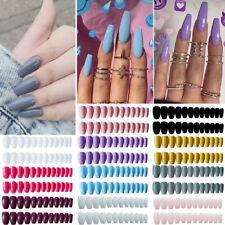 24pcs Fake Nails Long Acrylic Artificial False Full Nail Art Tips Stick Decor