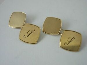 """Stunning Vintage 1945 9ct Gold Cufflinks Engraved With Italic """"s"""" By ACCo"""