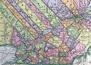 Original Antique 1886 Large COLOR MAP of QUEBEC, CANADA ~ Great Detail * Rare