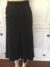 Jones New York Women's Solid Black Polyester Lined Flare Mid-Calf Skirt Size 2p
