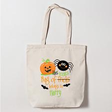 Personalised Halloween Trick Or Treat Canvas Tote Bag Boys This Bag Belongs To..