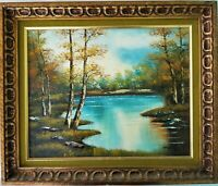 "Vintage Signed Oil Painting Pond Landscape on Canvas ""In Autumn"" Waltz"