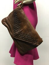 Frye Dark Brown Leather Strapless Hand Bag Magnetic Closure