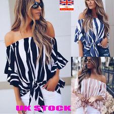 Womens Bardot Off Shoulder Tops Ladies Summer Casual T Shirt Blouse SIZE 6 - 20