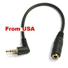 2X3.5mm Male to Female 90° Angled 4 Pole Plug Audio Extension Cable Cord Adapter