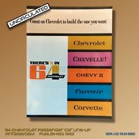 UNCIRCULATED Mint 1964 Chevrolet Line Brochure Chevelle-Chevy II-Corvair-Vette