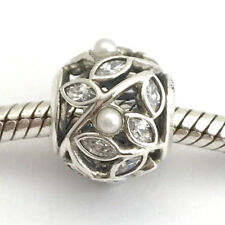 Authentic Pandora Luminous Leaves, White Pearl & CZ Charm, 791745P, New