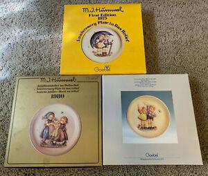 "3 HUMMEL ANNIVERSARY PLATES 1975, 1980 & 1985 - 10"" in Original Boxes"