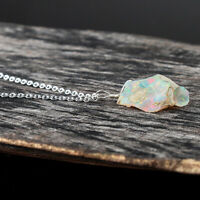 Natural Raw Ethiopian Opal Pendant Necklace in 925 Sterling Silver for Women