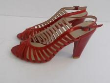 Sacha Women's Cut Work Heeled Red Leather Sandals Worn once.Size UK 5 eu 38.