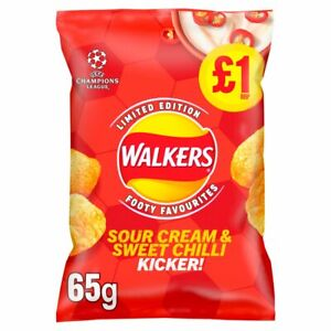 Walkers Sour Cream and Sweet Chilli Kicker Flavour Crisps -15 x 65g - NEW