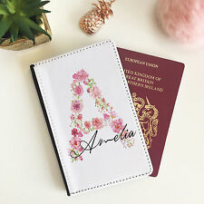 Passport Wallet Personalised Floral Alphabet Case for Women holiday gift