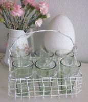 Korb, Henkelkorb, 6 Fächer, 6 Gläser, Vase,Fil de Fer, Eisen Weiß, Shabby