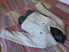 Kurze Jeans Jacke 48 Ulla Popken Material-Mix Jersey Einsatz Beige NP 79,99€ NEU