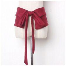 Burgundy Red Soft Faux Suede Microfiber Wide Tie Belt OS D116