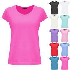 Womens Cap Sleeve Plain Ladies Basic Casual Lace Trim Round Neck Tee T Shirt Top