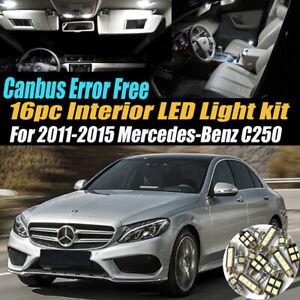 16Pc Error Free White Interior LED Light Kit for 2011-2015 Mercedes-Benz C250