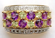 Victorian Look 925 Silver Cocktail Ring 2.01ct Rose Cut Diamond Amethyst Topaz