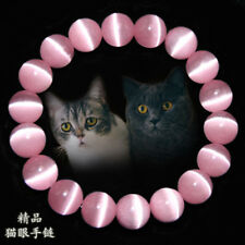 Natural 8mm Pink Cat Eye Stone Gemstone Beads Jewelry Bracelet Bangle C32102
