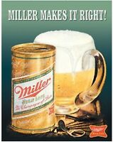 Miller High Life Makes It Right Metal Tin Sign Beer Garage Bar Home Decor New