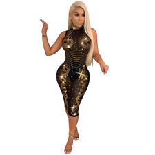 Women Sexy Sleeveless Hot Drilling Mesh Perspective Bodycon Dress Clubwear Party