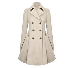 Women Long Parka Coat Lapel Neck Outwear Winter Warm Trench Jacket Coats S-xxl Blue 2xl