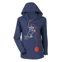 Marushka Handprints Women's Hooded T-Shirt, Kitten & Ball of String Blue Hoodie