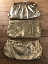 Vintage Lot Of 3 Gold Clutch Handbags
