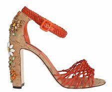 NUEVO DOLCE & GABBANA Zapatos piel naranja Corcho CRISTAL Tira S. Eu40/US9