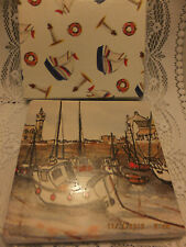 Boxed Cork Backed TILE  Harbour Scene