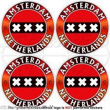 AMSTERDAM Flag NETHERLANDS Holland Dutch 50mm Bumper-Helmet Stickers Decals x4