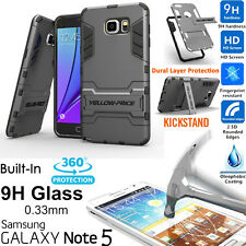Samsung Galaxy Note 5 Armor Case [+Tempered Glass Protection] Shockproof Stand
